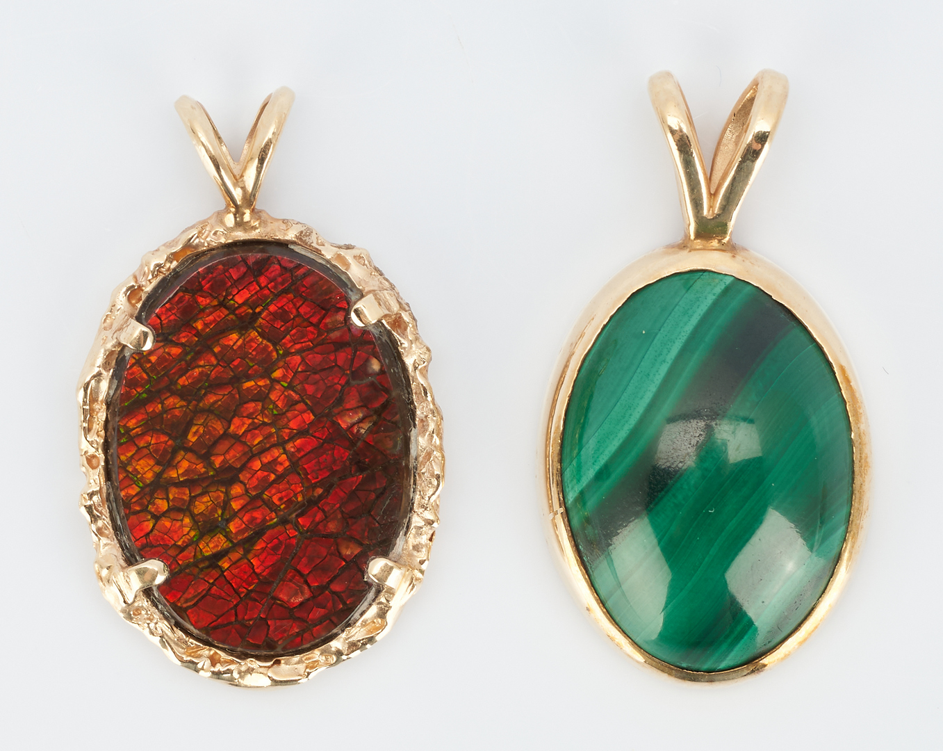 Lot 503: 5 Ladies 14K & Colored Stone Pendants