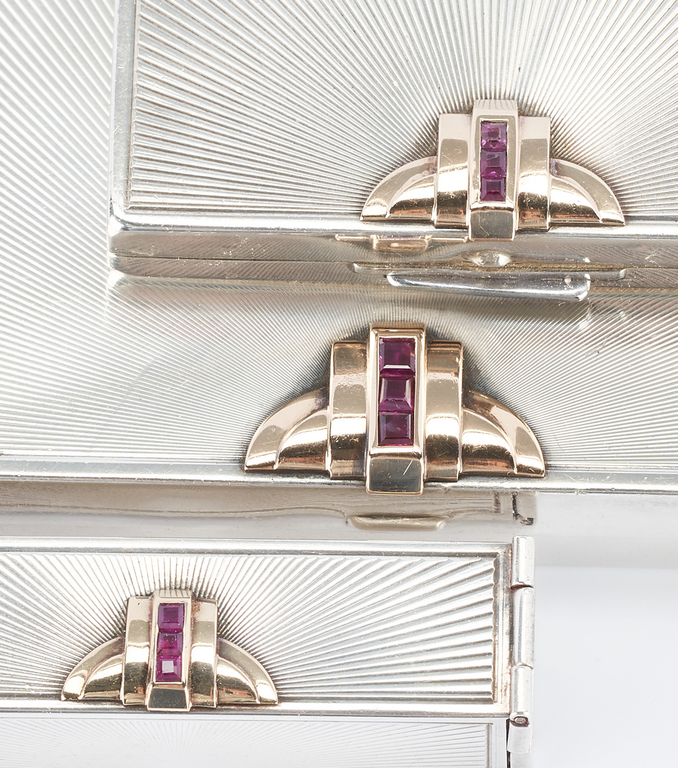 Lot 506: 3 pc Art Deco Tiffany Silver, 14K, and Ruby purse set