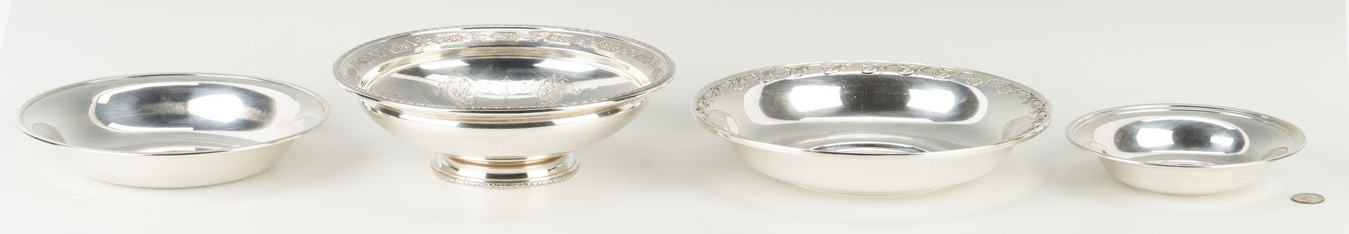 Lot 515: 4 Sterling Serving Bowls inc. Towle Louis XVI