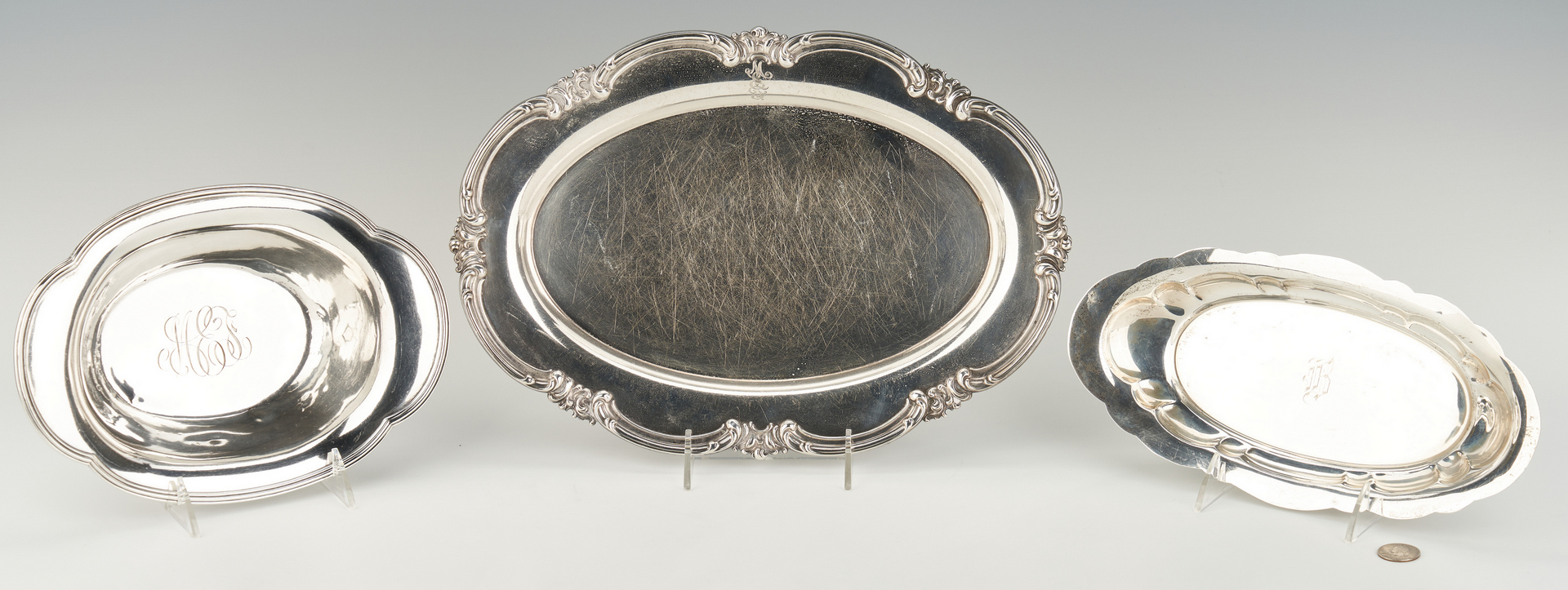 Lot 516: 3 Sterling Item: 2 trays and 1 oval bowl