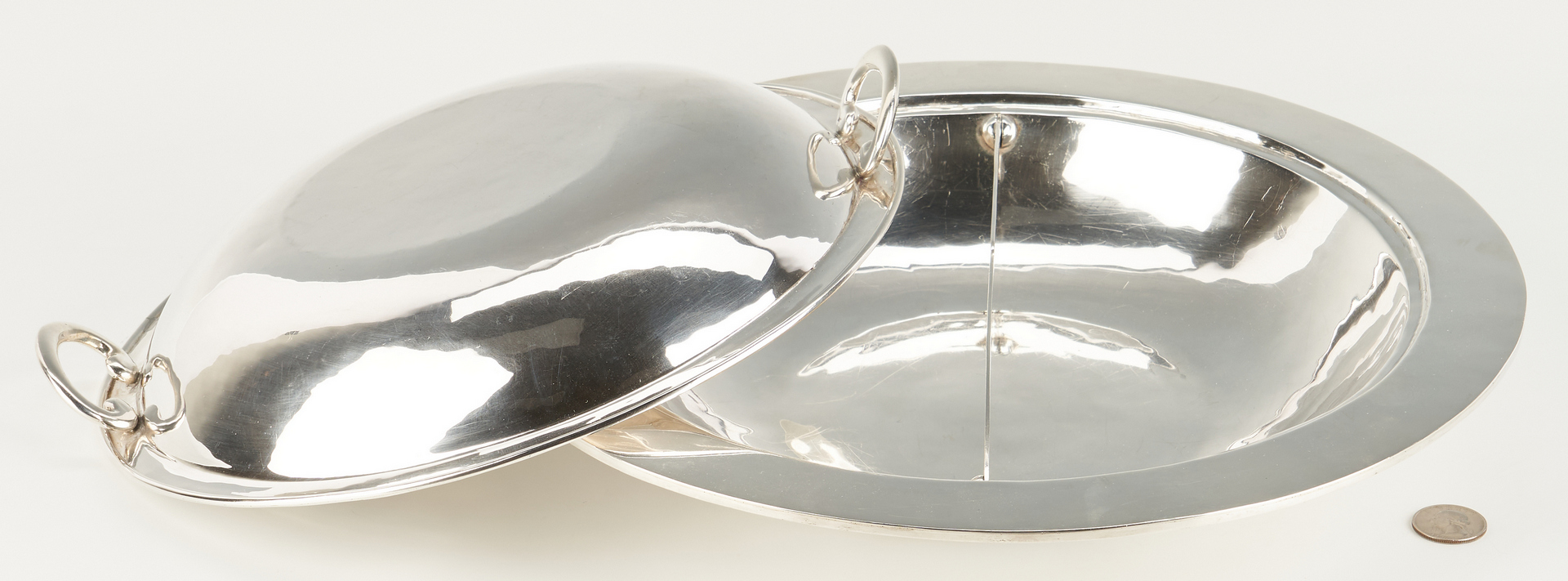 Lot 517: Mexican Sterling Silver Entree Dish, 58 oz