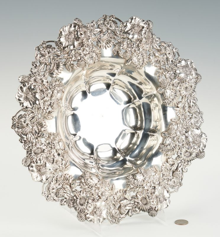 Lot 525: Dominick & Haff Floral Sterling Center Bowl