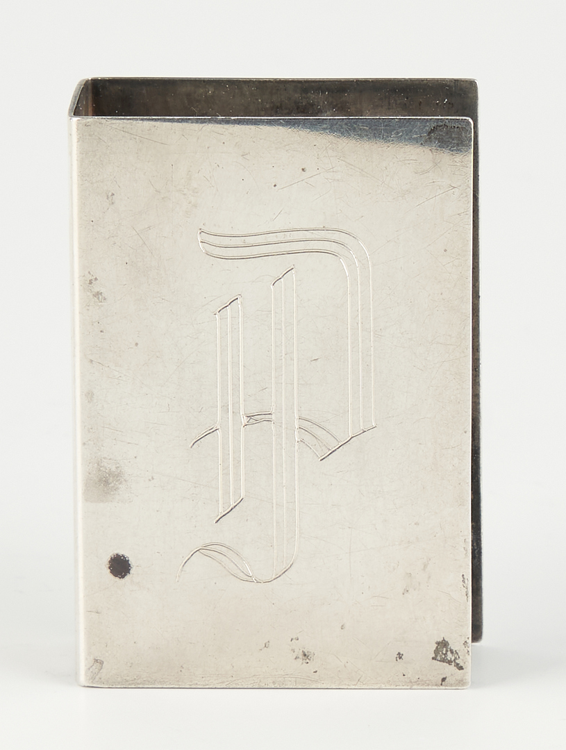 Lot 527: 7 pcs Sterling Hollowware incl. Art Deco cigar case