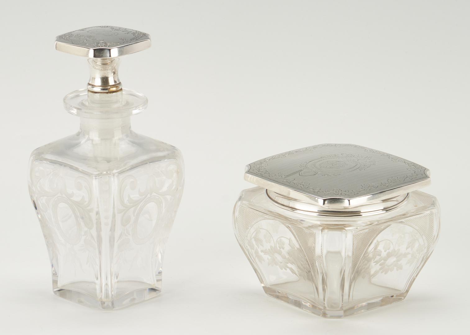 Lot 531: Sterling Ladies Vanity Box and Bottles, 3 pcs