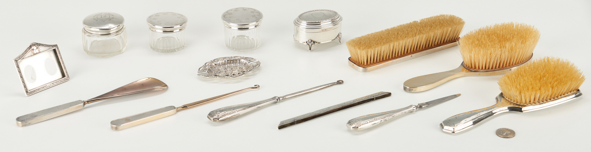 Lot 532: 12 Sterling Silver Vanity Items & 2 others
