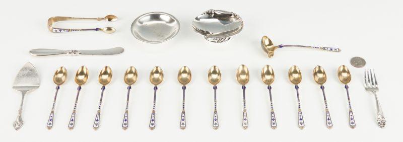 Lot 535: 19 Danish Silver Items, incl. Jensen, Hertz