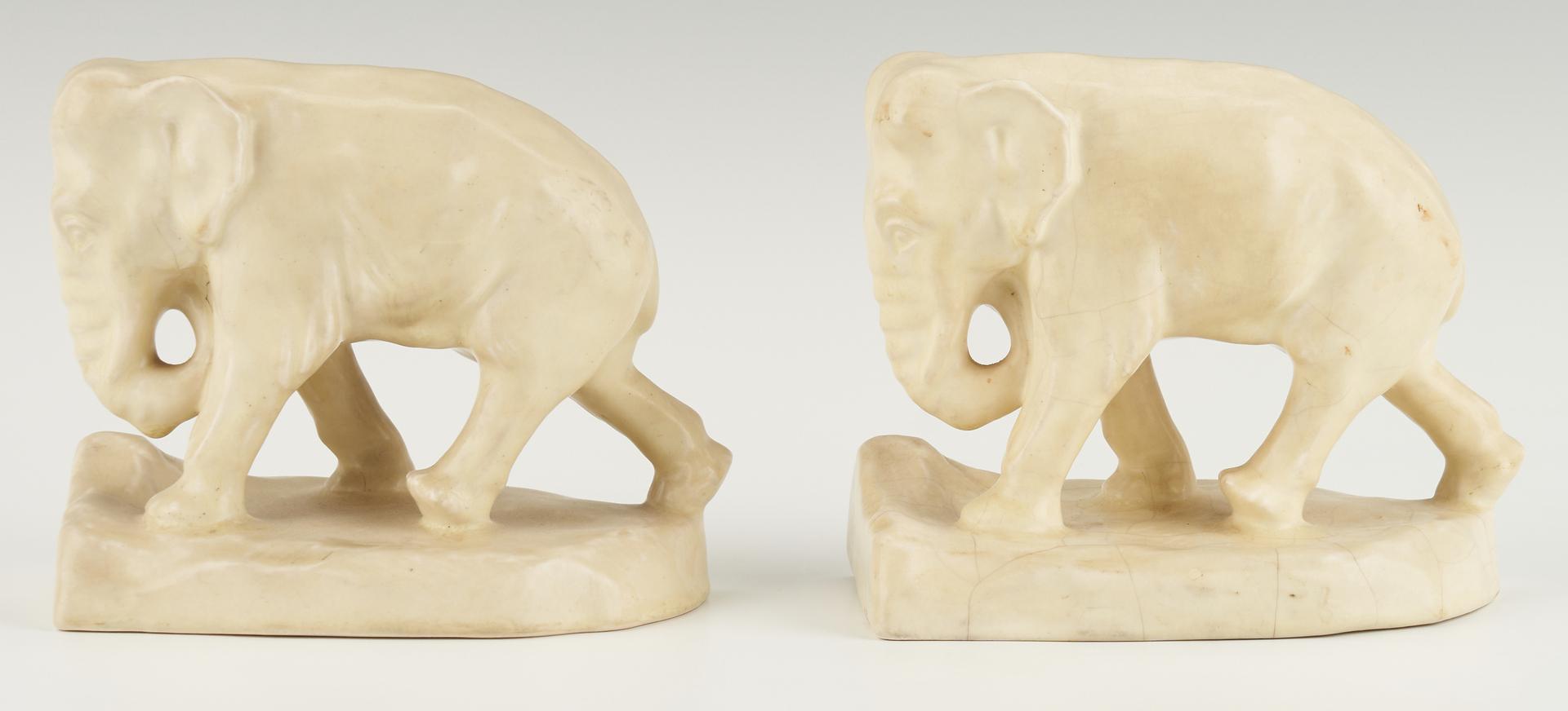Lot 536: 4 Pcs. Rookwood Art Pottery,  incl. Elephant Bookends