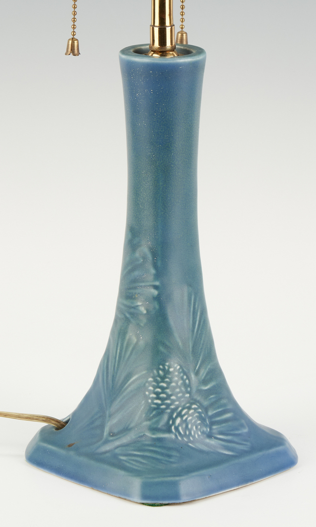 Lot 539: Rookwood Pottery Table Lamp, Pine Tree Branch Decoration