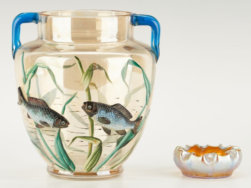 Lot 540: Tiffany Favrile Bowl & French Art Glass Vase