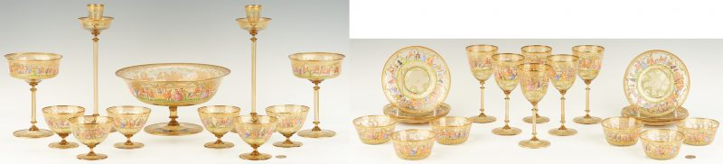 Lot 541: Bohemian or Venetian Enameled Glass Dessert Service, 29 items