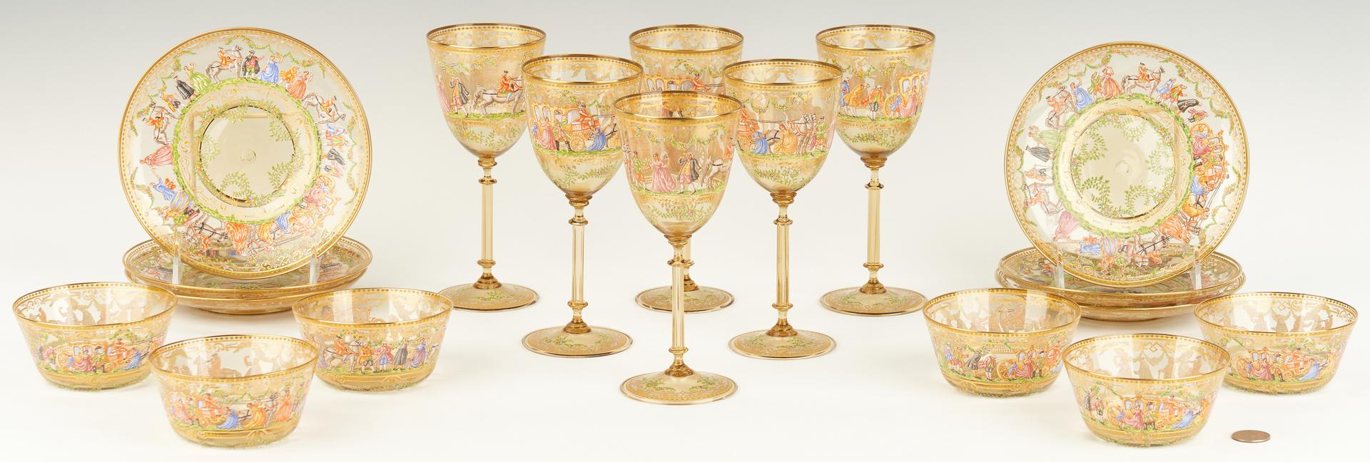 Lot 541: Bohemian or Venetian Enameled Glass Dessert Service, 29 items