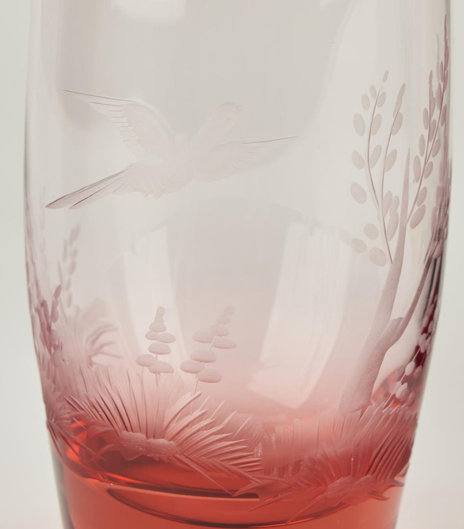 "Lot 542: 10 Moser Signed ""Bird"" Glassware Items"