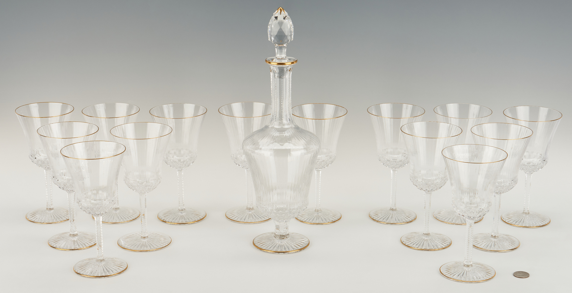 Lot 543: St. Louis Apollo Gold Pattern Stemware & Decanter