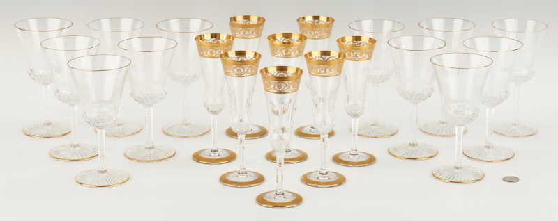 Lot 544: 20 Pcs. St. Louis Thistle & Apollo Gold Pattern Stemware