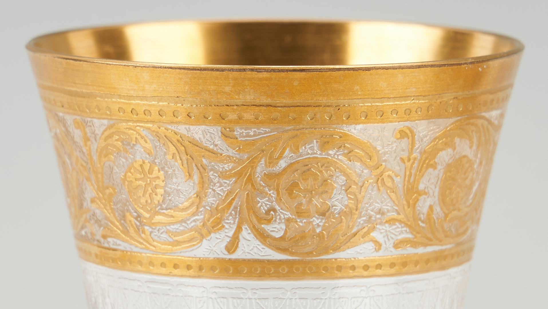 Lot 544: 20 Pcs. St. Louis Thistle & Apollo Gold Pattern Stemware