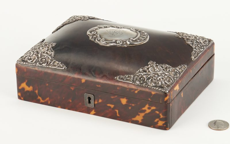 Lot 54: English Silver Mounted Tortoise Shell Box