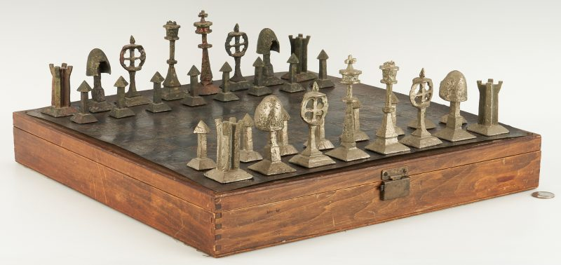 Lot 551: Richard L. Synek/Charles Martel Chess Set
