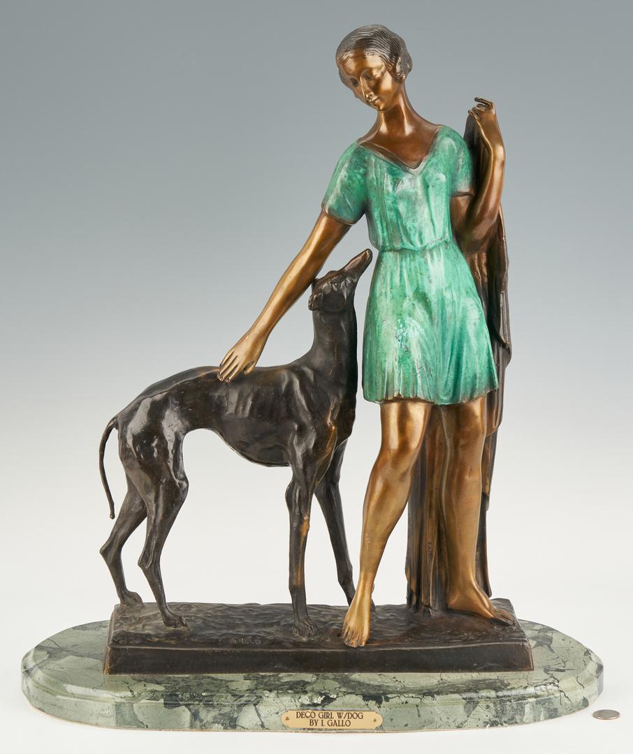 Lot 556: Ignacio Gallo Bronze Sculpture, Girl with Greyhound
