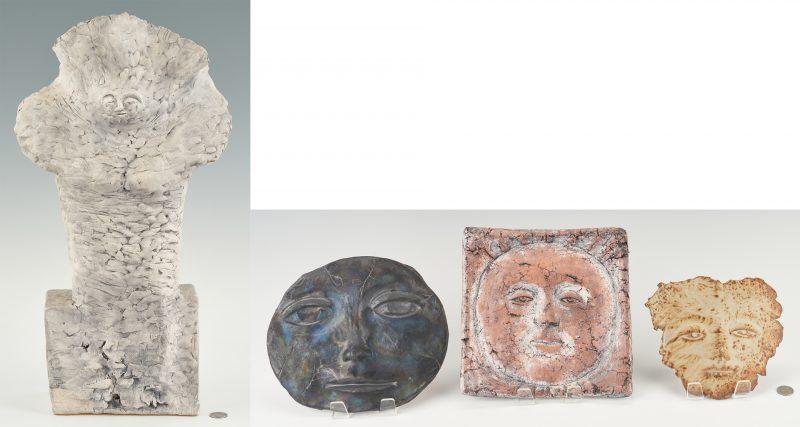 Lot 558: 3 Olen Bryant Ceramic Sculptures & 1 other