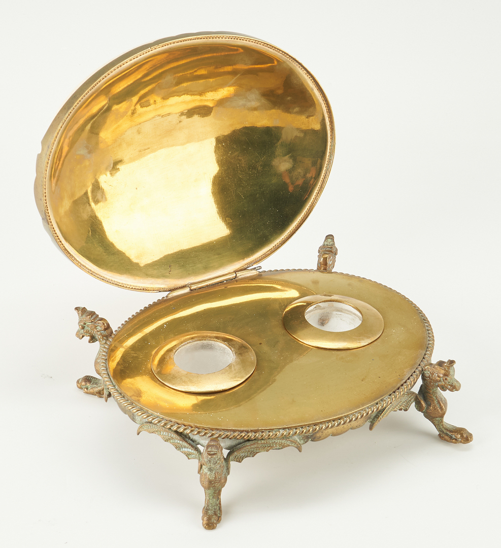 Lot 55: Silver Mounted Coconut Cup, Desk Clip, & Egg Inkwell