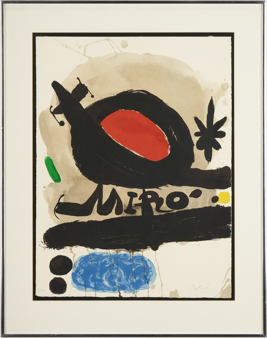 Lot 563: Joan Miro Signed Lithograph, Solar Bird, Lunar Bird, Spark, 95/150