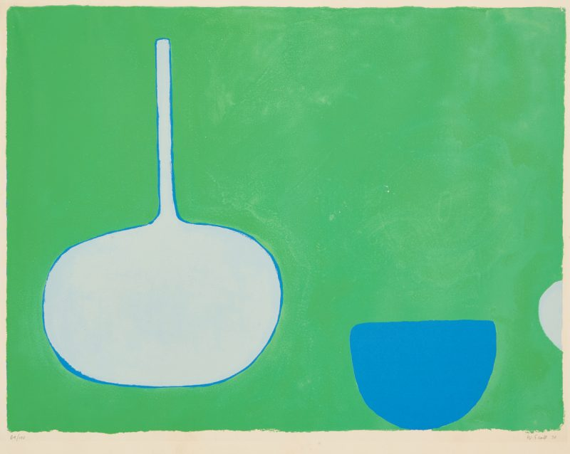 Lot 571: William Scott Screenprint, Bottle and Bowl, Blues on Green
