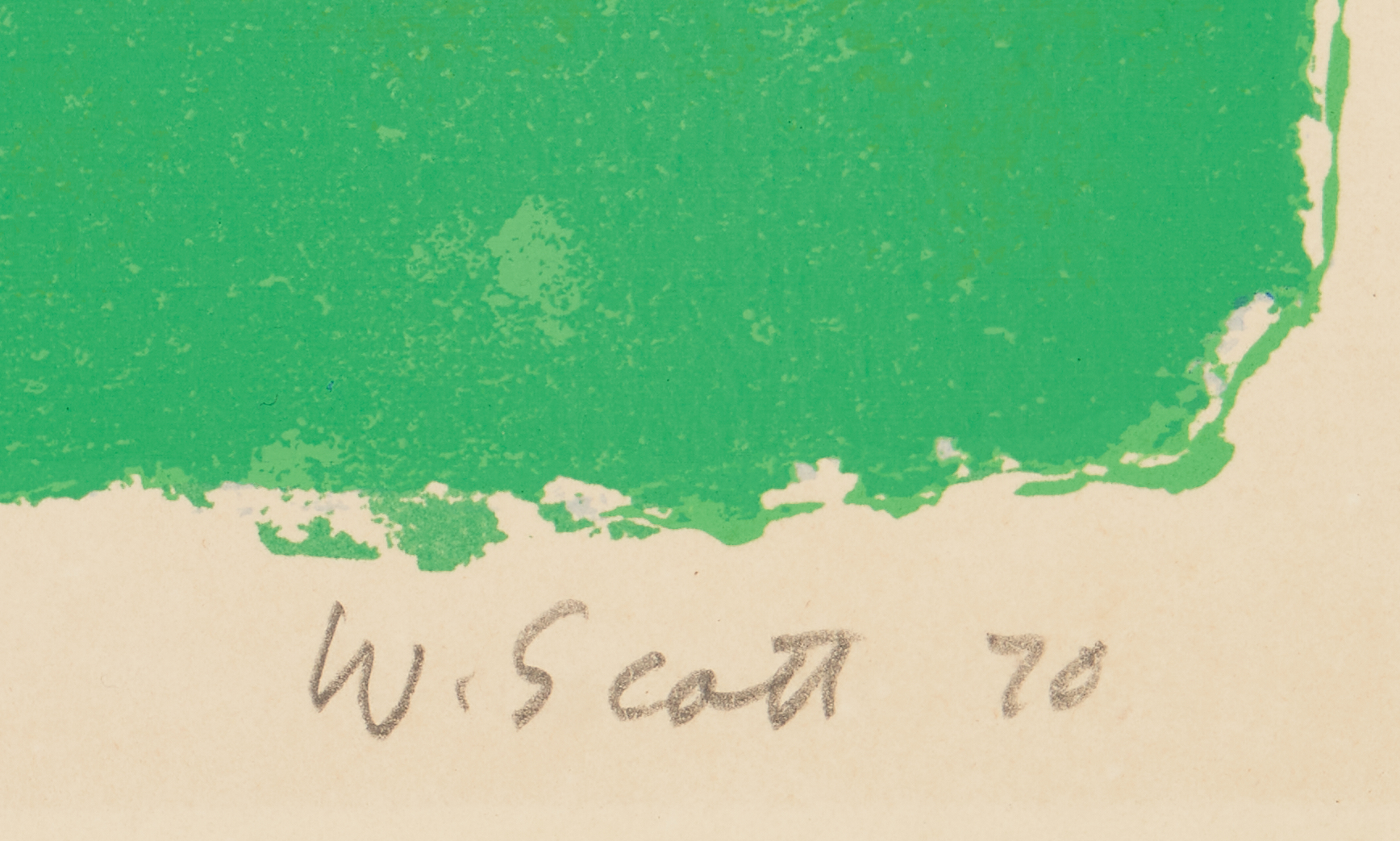 Lot 571: William Scott Screenprint, Bottle and Bowl, Blues on Green