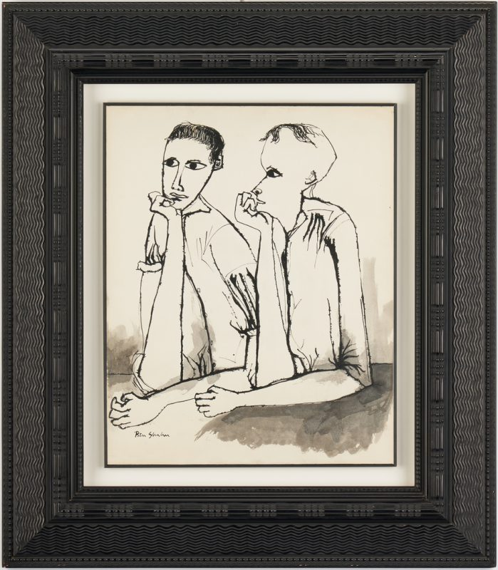 Lot 573: Ben Shahn Ink & WC Drawing, Two Figures