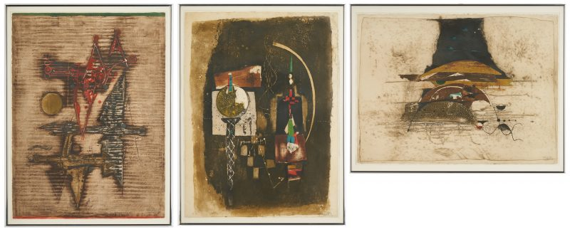 Lot 578: 3 Johnny Friedlander Abstract E.A. Aquatint Etchings