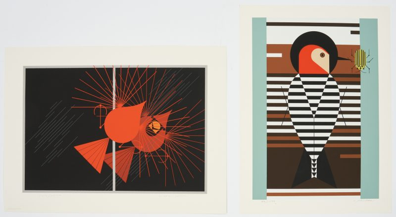 Lot 579: 2 Charley Harper Bird Serigraphs, incl. Seeing Red, Baffling Belly
