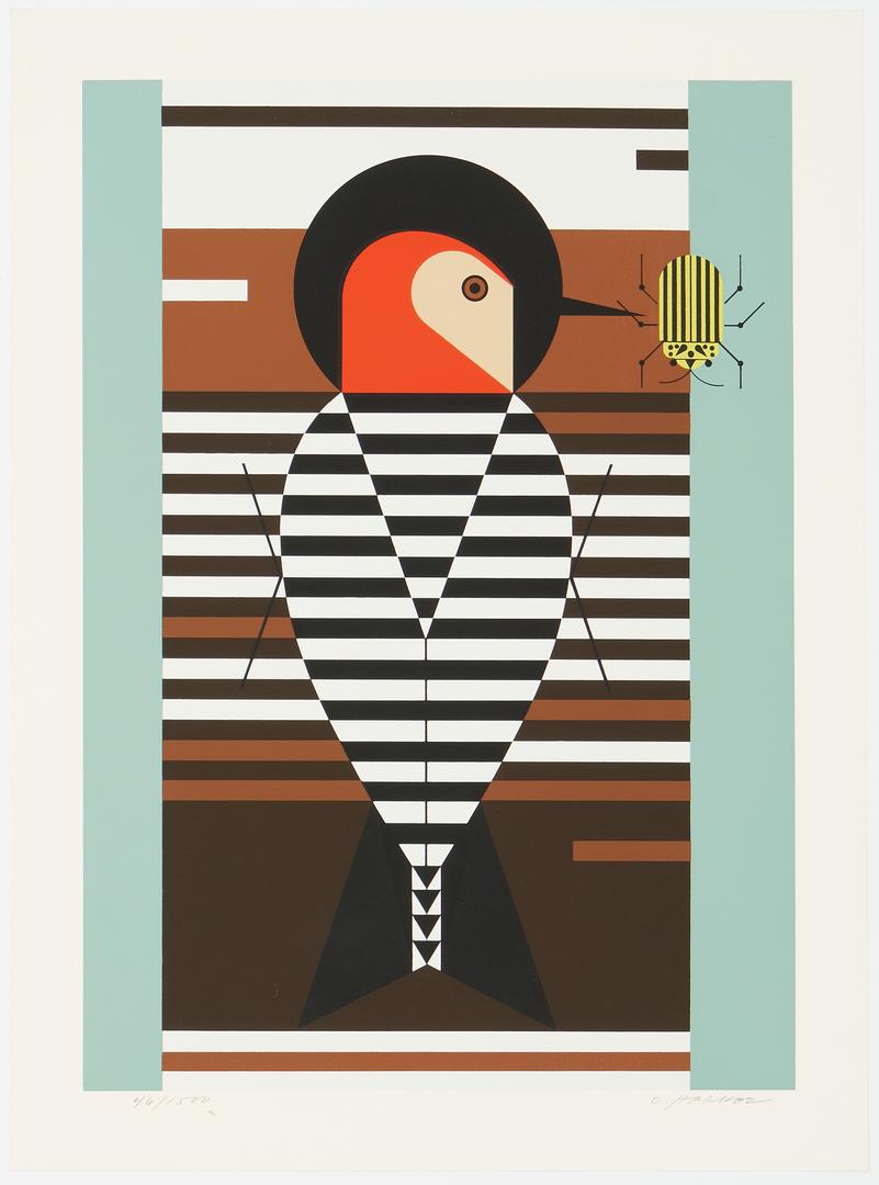Lot 579: 2 Charley Harper Bird Serigraphs, incl. Seeing Red, Baffling Belly