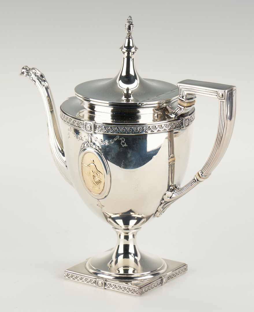 Lot 57: 7 Pcs. Pompeiian Sterling Tea Set and Sterling Tray