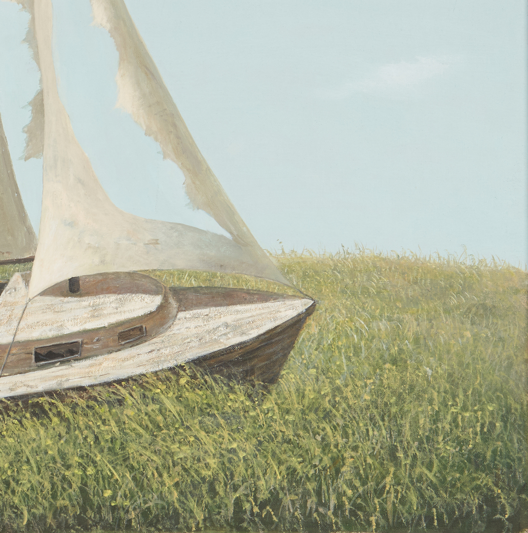 Lot 582: Evelyn Taylor O/C Painting, Boat with Tattered Sails