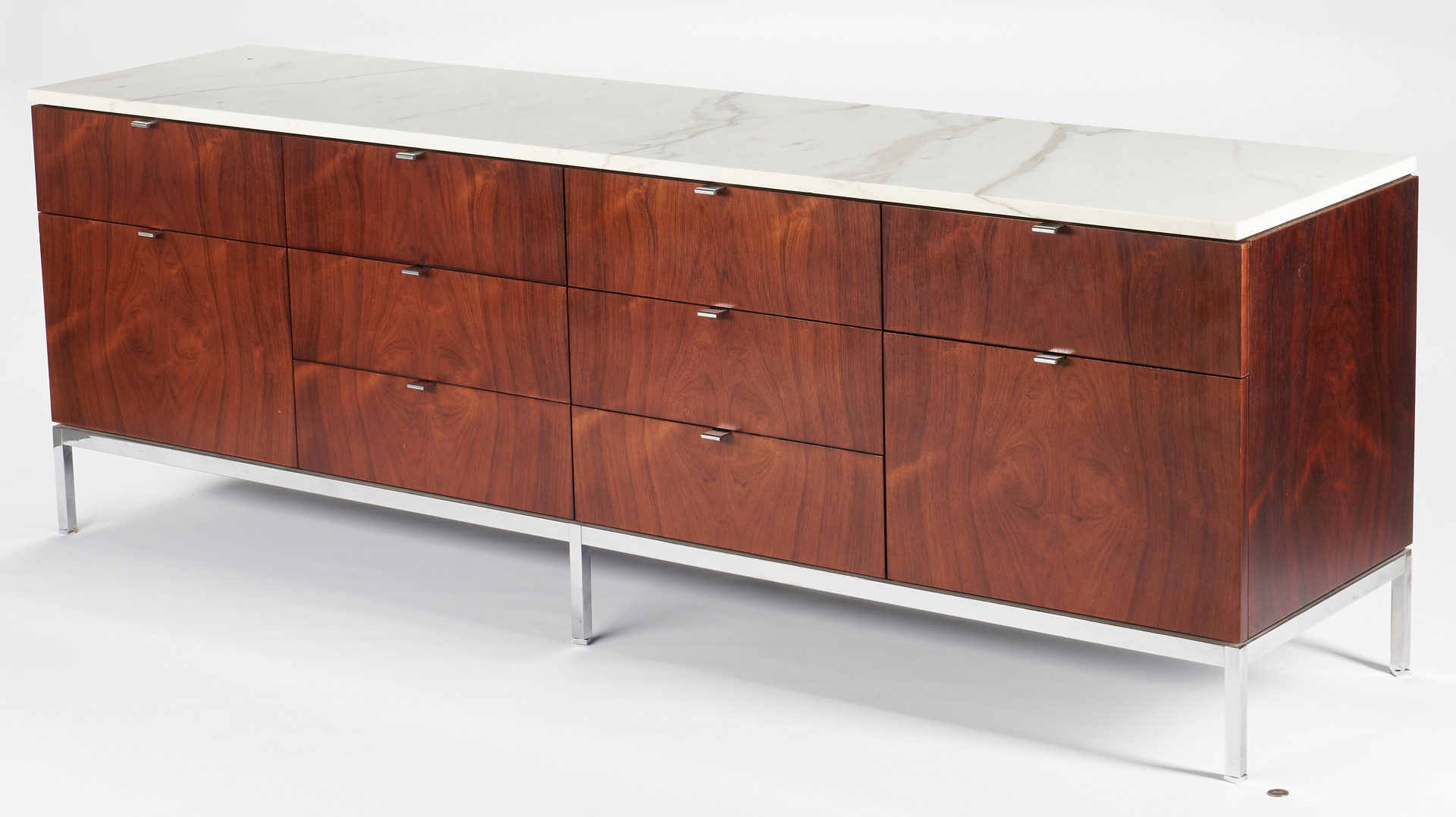 Lot 587: 1960s Labeled Knoll Credenza w/ Marble Top & Drawers