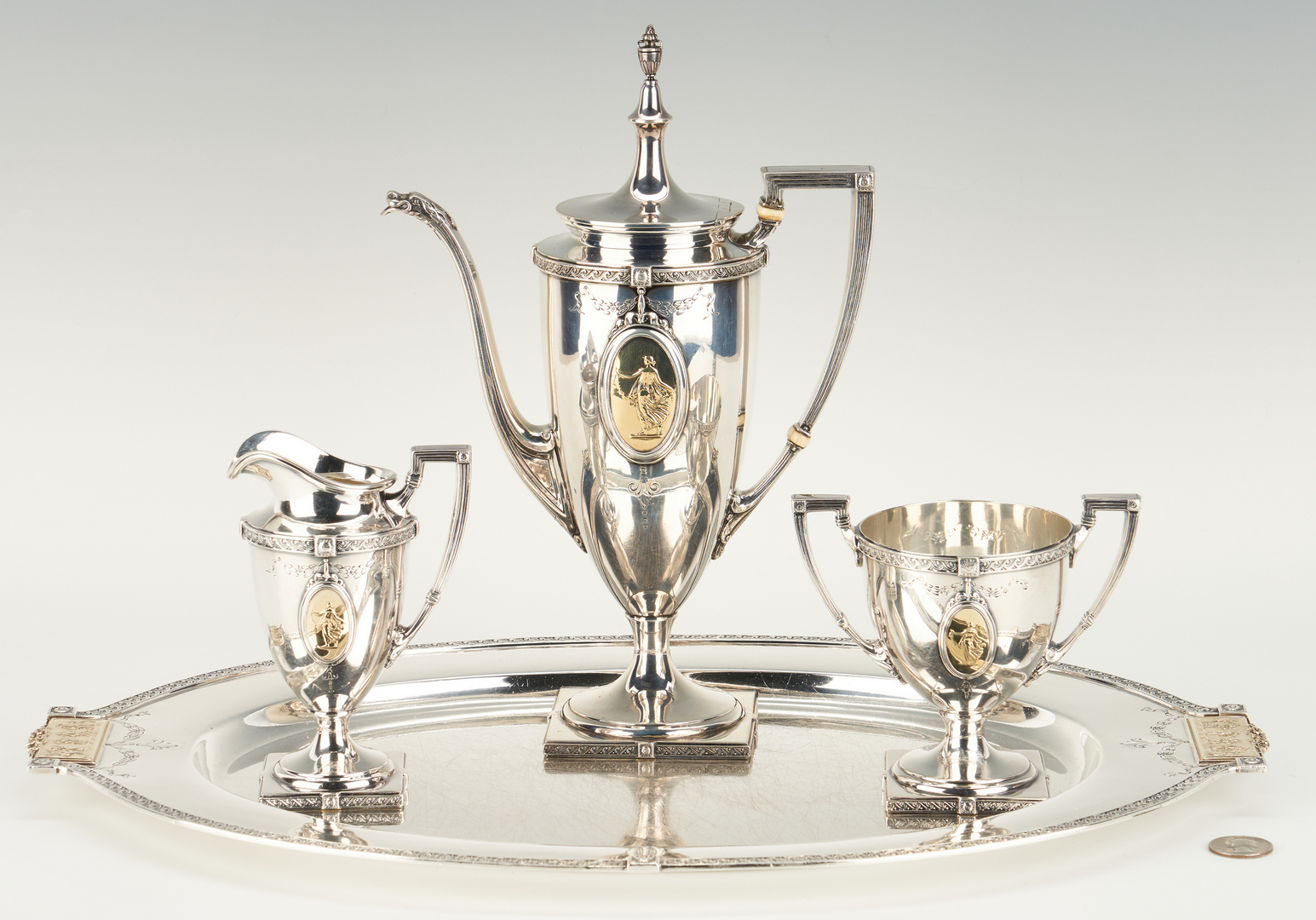 Lot 58: Pompeiian Sterling Bachelor Tea Set and Sterling Tray
