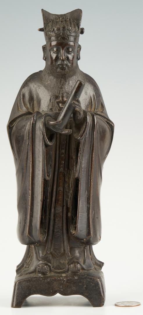 Lot 5: Chinese Daoist Bronze Figure, poss.Wen Chang