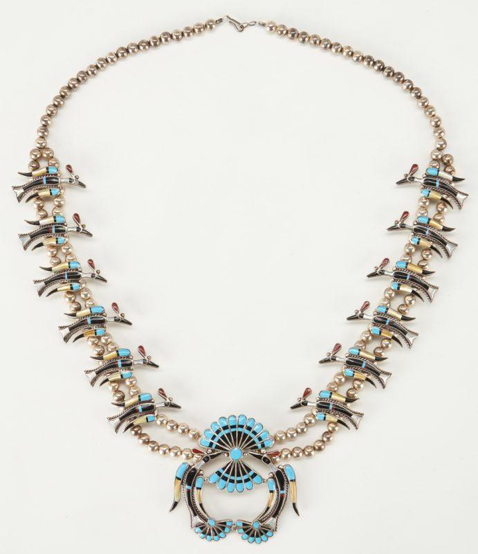 Lot 606: Zuni Squash Blossom Necklace, Bird Motif