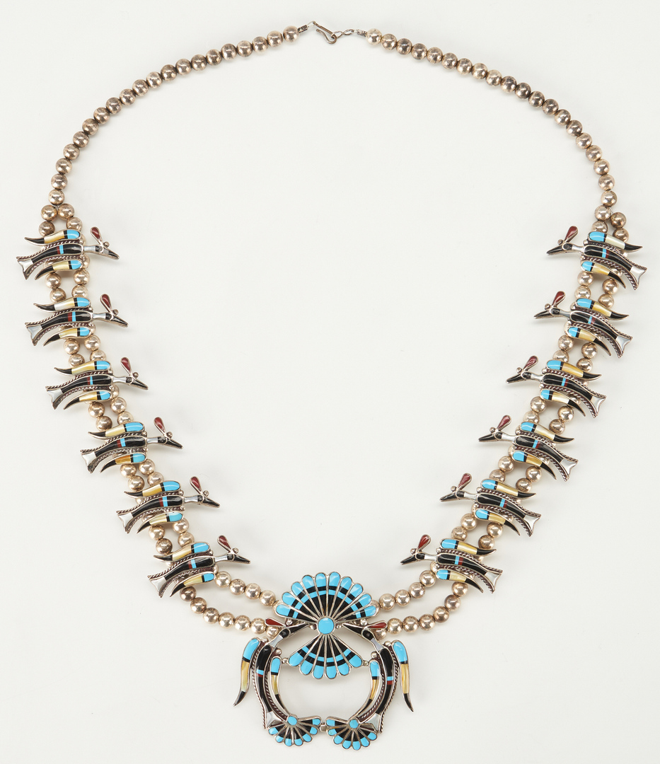 Lot 606: Zuni Squash Blossom Necklace, Bird Motif