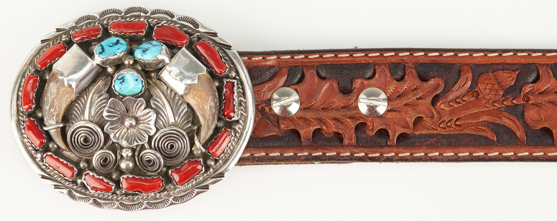 Lot 607: Old Pawn Double Bear Claw and Coin Buckle, Belt