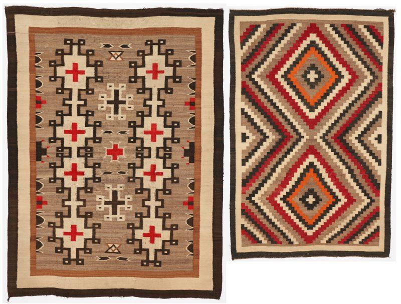 Lot 608: 2 Native American Navajo Rugs, Eye Dazzler & Ganado