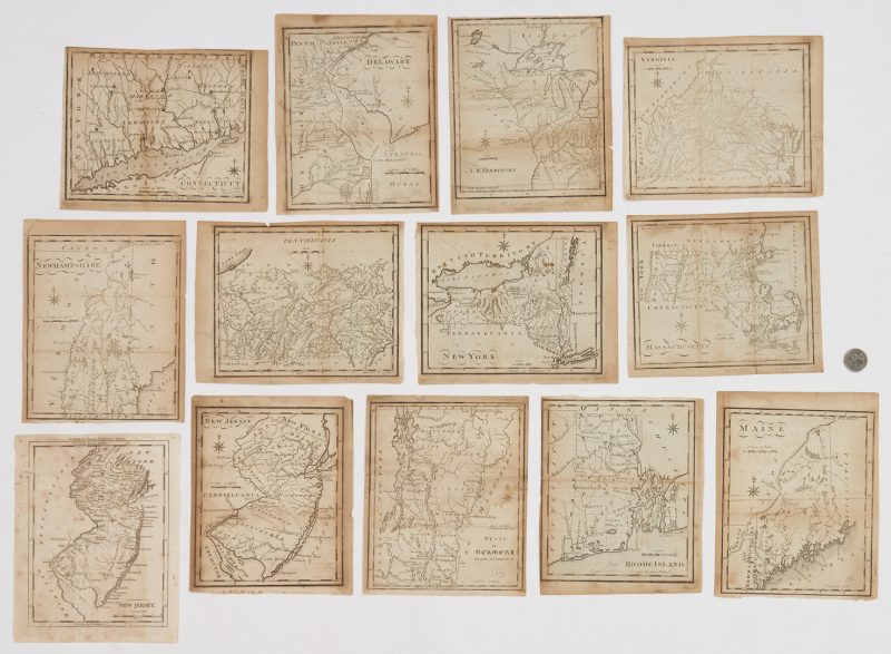Lot 620: 12 U.S. Gazetteer Maps, 1795, 13 items