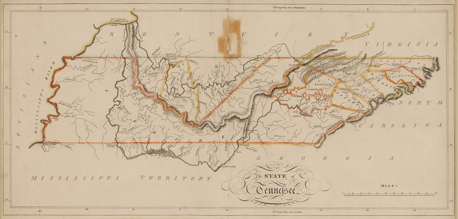 Lot 622: State of TN Map, M. Carey, 1814