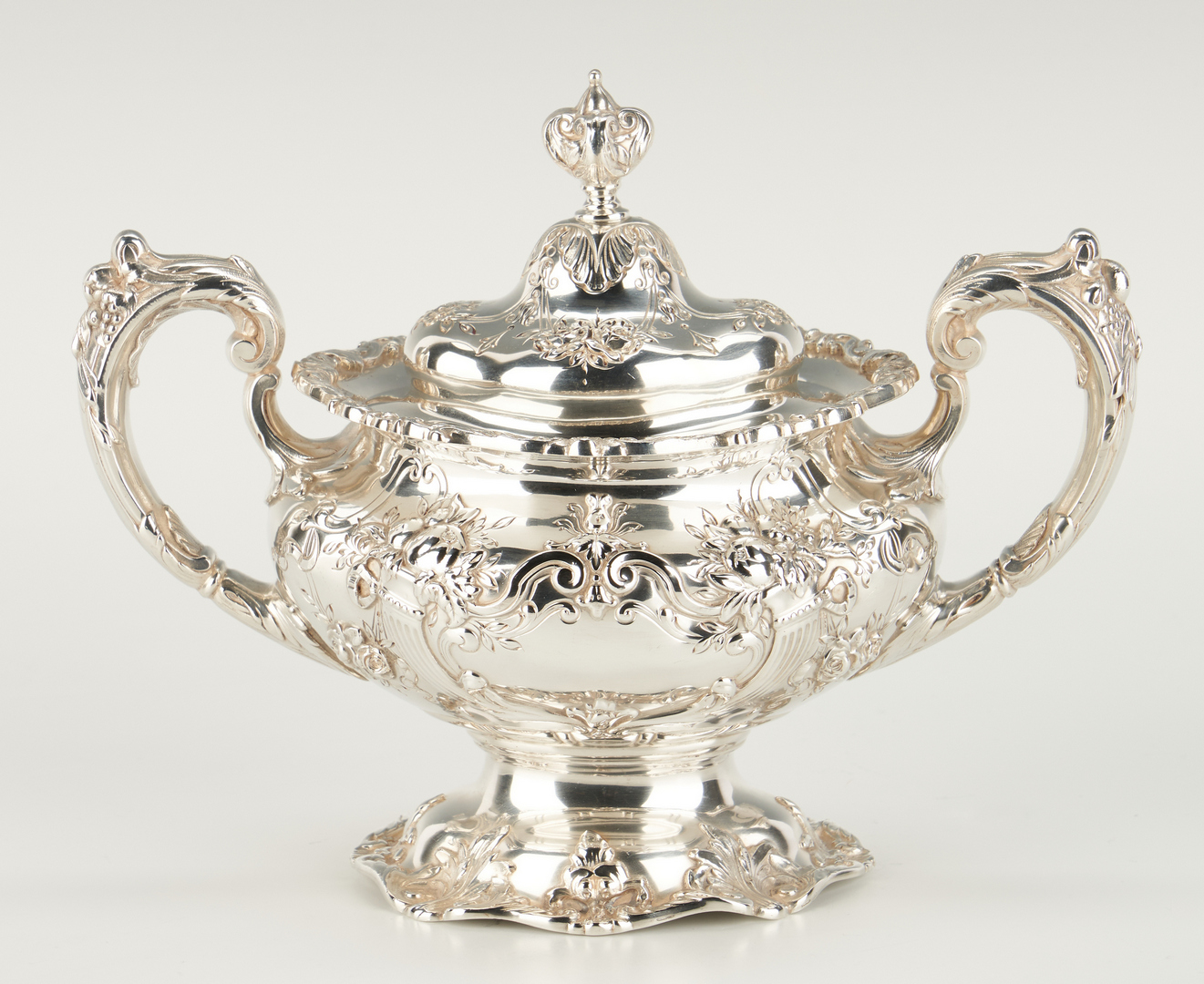 Lot 62: 6 Pc. Francis I Tea Set w/ Sterling Tray