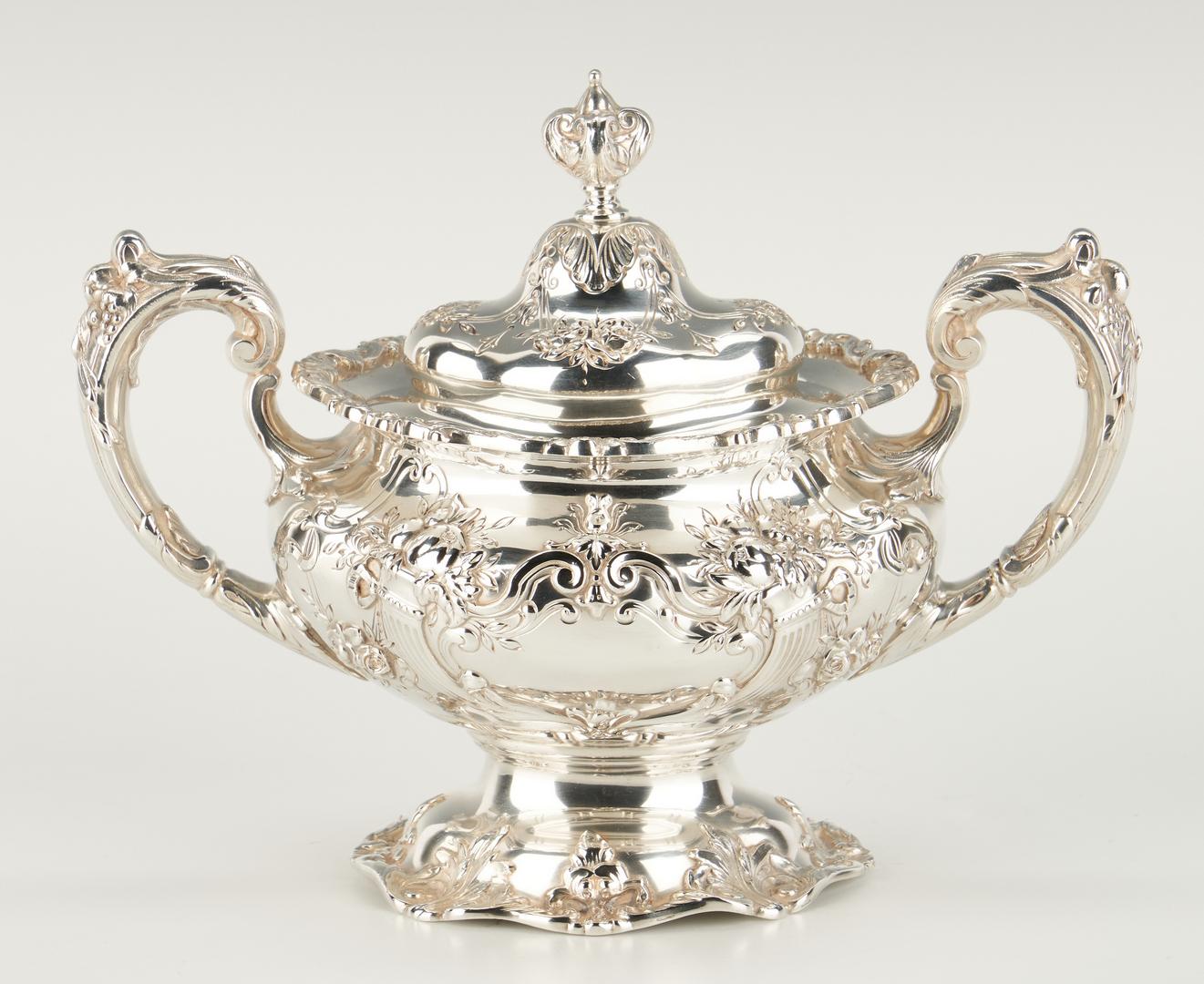 Lot 62: 6 Pc. Francis I Tea Set w/ Sterling Tray