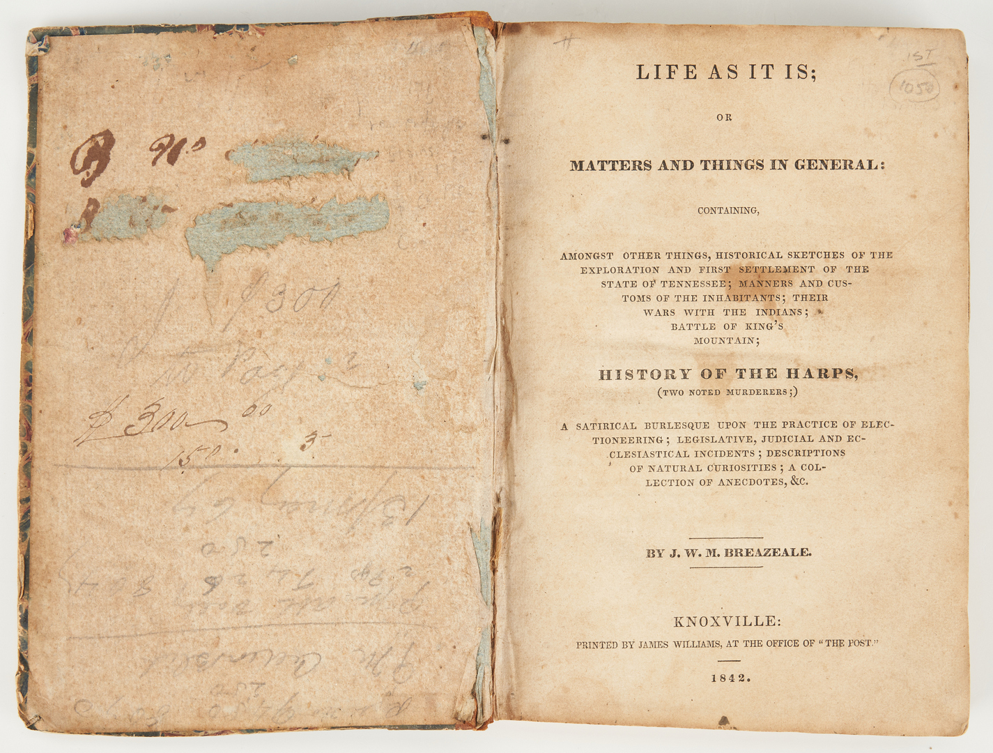 Lot 630: Two (2) J.W.M. Breazeale, Life As It Is, 1842