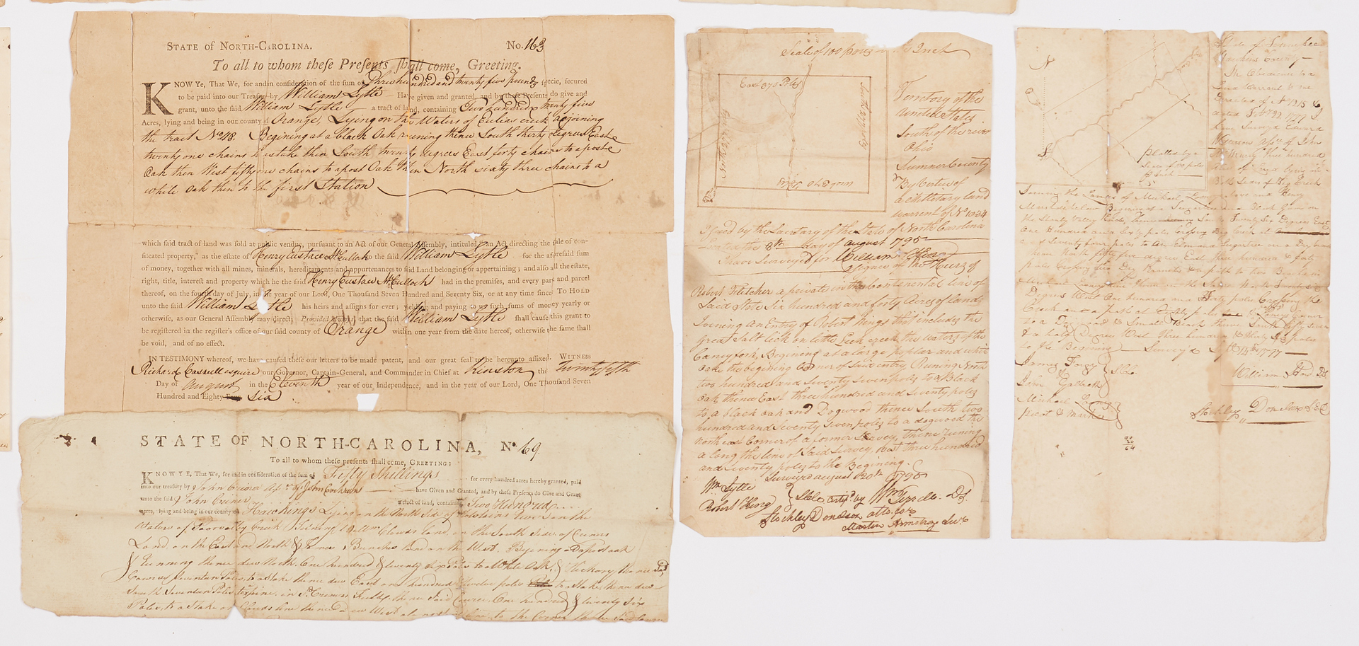 Lot 633: NC Governor and TN Related Land Documents, incl. Landon Carter, Stockley Donelson