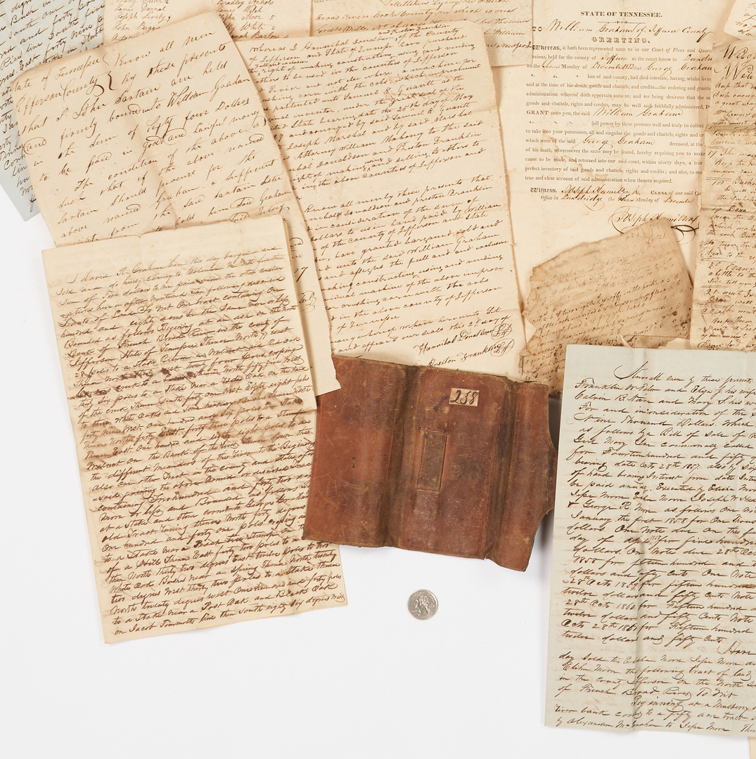 Lot 638: William Graham Early TN Archive, incl. Slave Deed