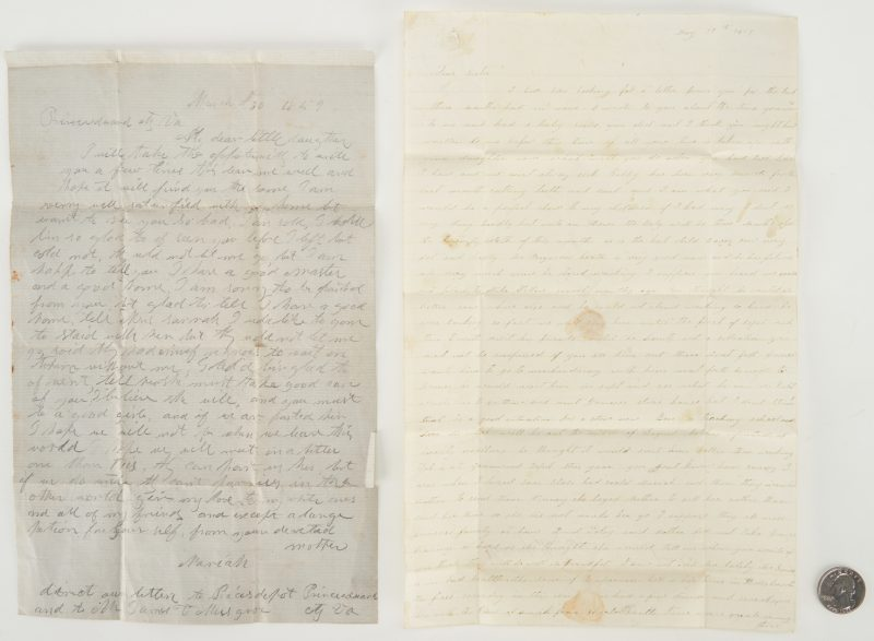 Lot 639: 1859 VA Letter Written by Slave named Mariah (2 items)