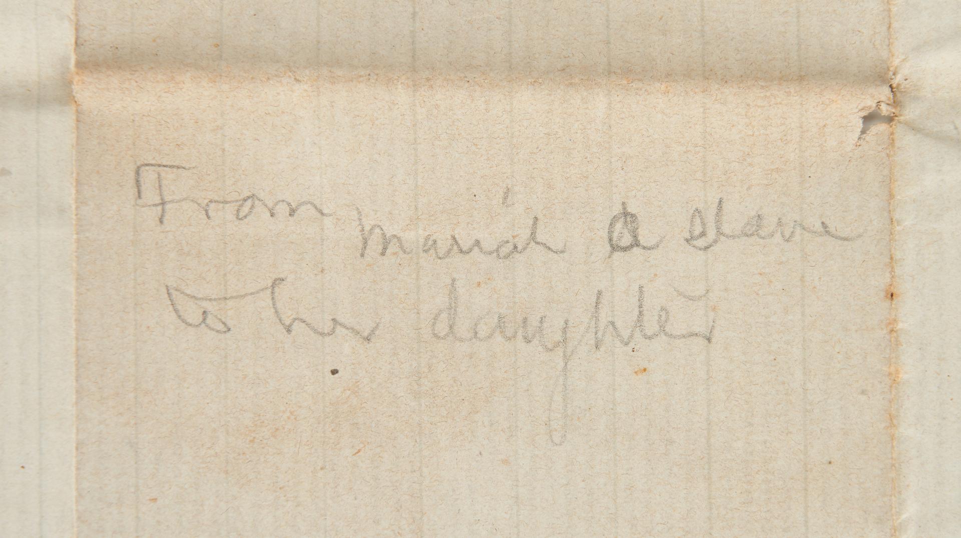 Lot 639: 1859 VA Letter Written by Slave named Mariah (2 items)