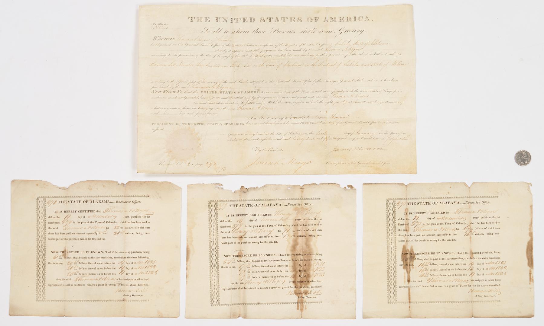 Lot 644: Pres. James Monroe Signed Cahaba, AL Land Grant, 4 items